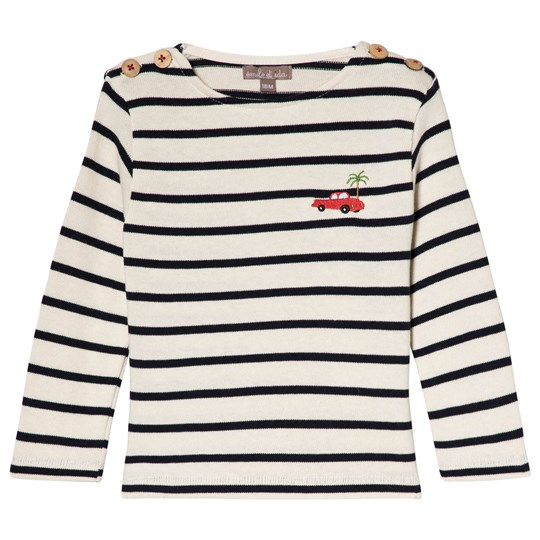 Emile et Ida Marine and Ecru Long-Sleeved Striped T-Shirt MARINE ECRU
