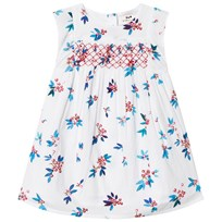 Cyrillus White and Blue Smock Dress 6386
