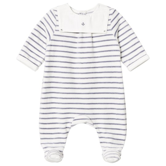 Cyrillus Footed Baby Body in White and Navy Stripe Velour 6408