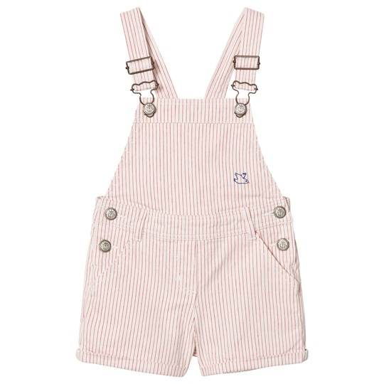 Cyrillus Red and White Stripe Lobster Embroidered Overalls 6668