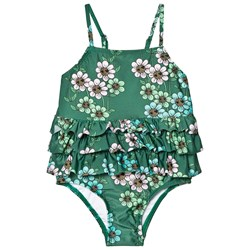 Mini Rodini Daisy Frill Swimsuit Dark Green