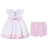 Mintini Baby White Dress and Bloomers with Pink Frill White