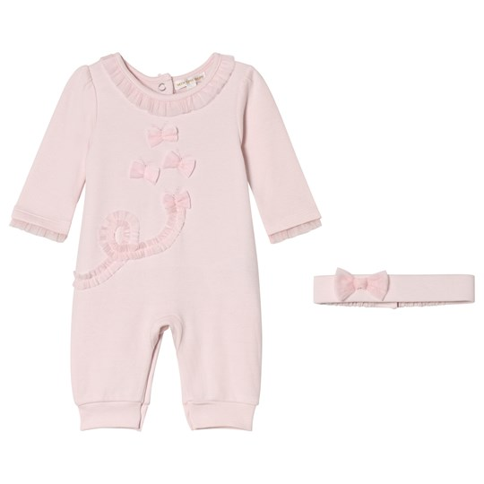 Mintini Baby Pink One-Piece with Frill Collar and Matching Headband Pink