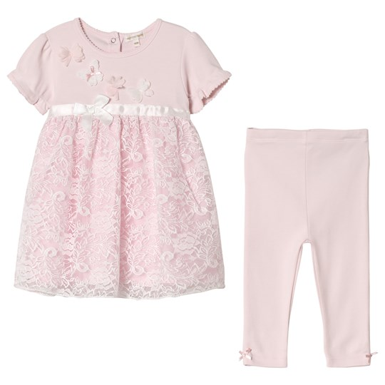 Mintini Baby Pink Dress and Leggings with Butterfly Detail Pink