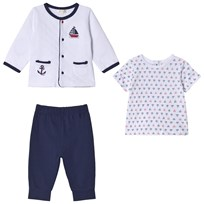 Mintini Baby Navy and White Top, Pants and Cardigan Boat Set White