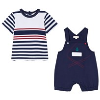 Mintini Baby Navy and White Striped T-Shirt with Navy Overalls Laivastonsininen