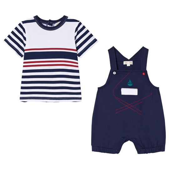 Mintini Baby Navy and White Striped T-Shirt with Navy Overalls Navy