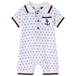 Mintini Baby White Boat Print Romper with Red and Navy Stitching