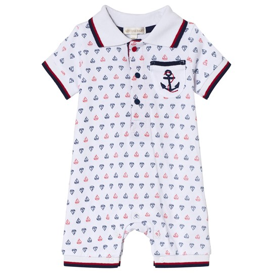 Mintini Baby White Boat Print Romper with Red and Navy Stitching White