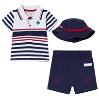 Mintini Baby Navy, White and Red Striped Polo Shirt, Navy Shorts and Hat Set Laivastonsininen