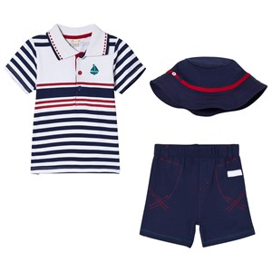 Image of Mintini Baby Navy, White and Red Striped Polo Shirt, Navy Shorts and Hat Set 12 mdr (3008599311)