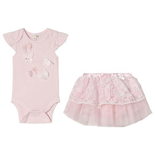 Mintini Baby Pink Baby Body and Skirt with Butterfly Detail Pink
