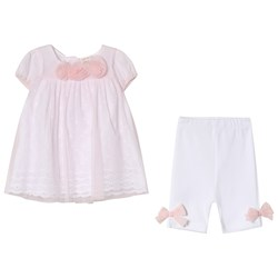Mintini Baby Pink Dress and White Leggings with Bow Detail