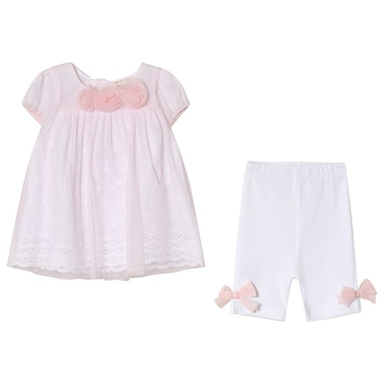 Mintini Baby Pink Dress and White Leggings with Bow Detail Pink