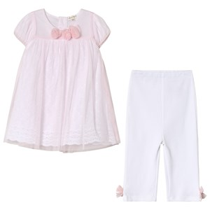 Image of Mintini Baby Pink Dress and White Leggings with Bow Detail 12 mdr (3056057761)