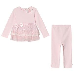Image of Mintini Baby Pink Dress and Legging with Bow and Frill Detail 18 mdr (3008599987)