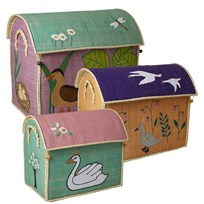 Rice Set of 3 Toy Baskets with The Ugly Duckling Theme Lyserød