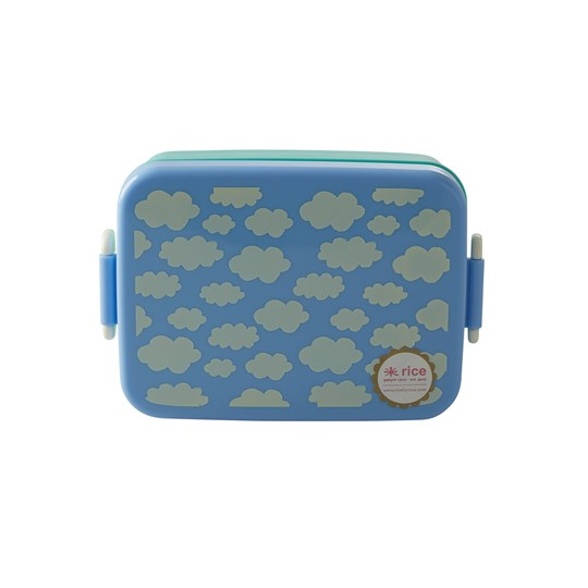 Rice Large Lunchbox with Divider Cloud Print Blue Sininen