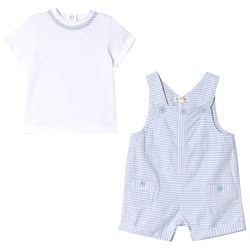 Mintini Baby White and Blue Striped T-Shirt and Short Overalls Set
