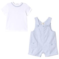 Mintini Baby White and Blue Striped T-Shirt and Short Overalls Set Blue