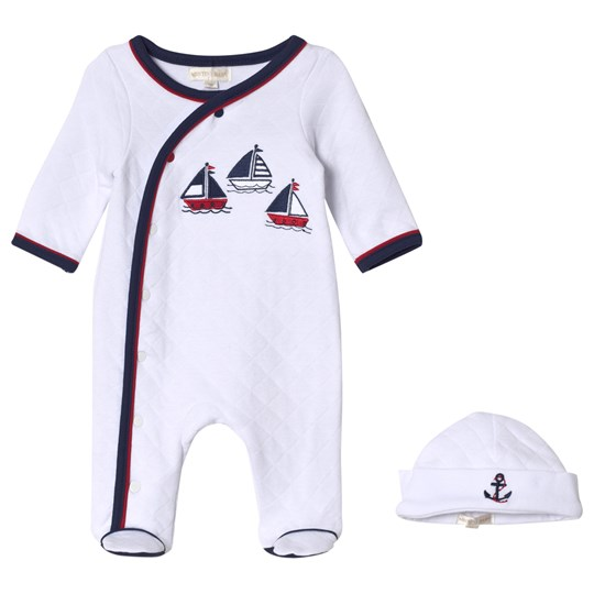 Mintini Baby White Footed Baby Body With Navy and Red Stitching and Matching Hat White