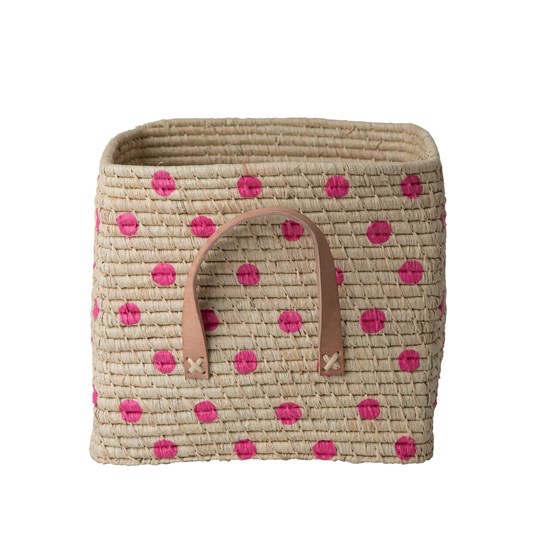 Rice Square Raffia Basket with Painted Fuchsia Dots and Leather Handles Nature/fuccia