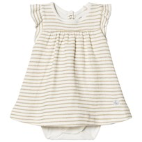 Petit Bateau Baby Body Striped In Gold