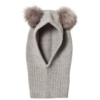 Huttelihut Fake Fur Balaclava Light Grey L.Grey