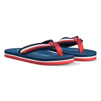 Tommy Hilfiger Navy and White Branded Flip Flops X051
