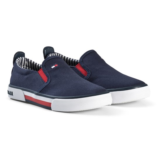 Tommy Hilfiger Navy Branded Slip On Sneakers 800