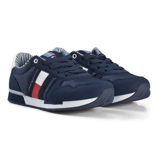 Tommy Hilfiger Navy and White Branded Lace Trainers X043