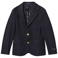 Ralph Lauren Navy Pique Blazer with Gold Buttons 001
