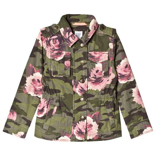 GAP Floral Army Jacket In Green And Pink ARMY JACKET GREEN