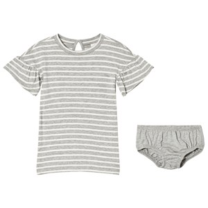 Image of GAP Grey Striped Dress And Bloomers Set 5 år (3009433697)
