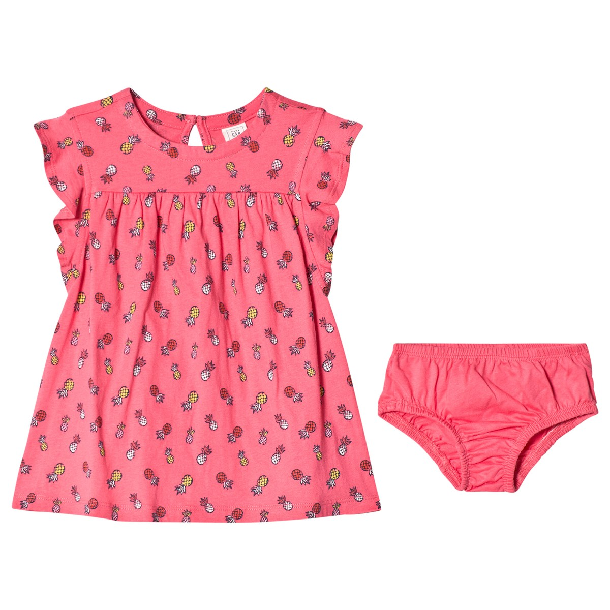 GAP Pink Pineapple Print Dress And Bloomers Set Babyshop.no