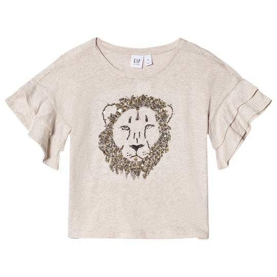 Gap Ruffle Sleeve Lion T-shirt Oatmeal B2621