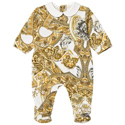 Versace White and Gold Baroque Print Footed Baby Body