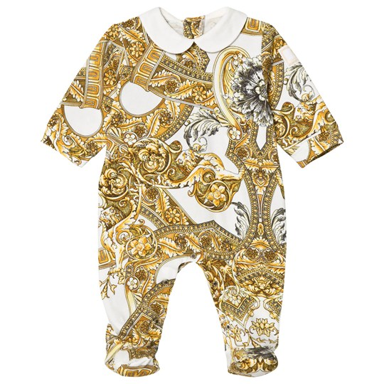 Versace White and Gold Baroque Print Footed Baby Body Y3609
