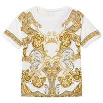 Young Versace White and Gold Baroque Print T-Shirt Y3791