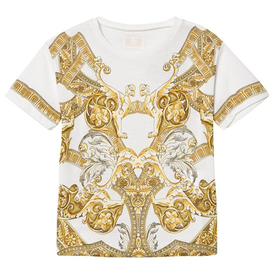 Versace White and Gold Baroque Print T-Shirt Y3791