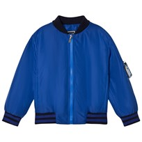 Young Versace Blue Branded Back Bomber Jacket Y3754