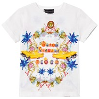 Young Versace White Miami Print Branded T-Shirt Y4036