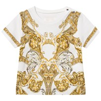 Young Versace White Baroque Print Infants T-Shirt Y3791