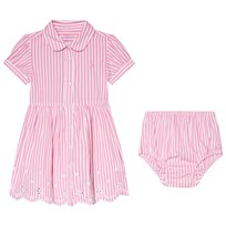 Ralph Lauren Pink Bengal Stripe Eyelet Detail Shirt Dress 002