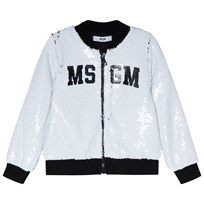 MSGM White All Over Sequin Logo Jacket 001