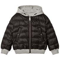 Burberry Black Padded Coat Reversible into Grey Marl Black
