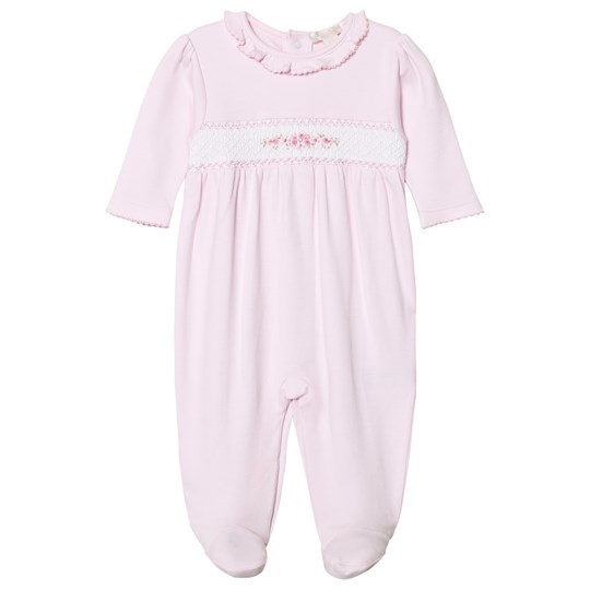 Kissy Kissy Pink Floral Smock Hand Embroidered Footed Baby Body PK