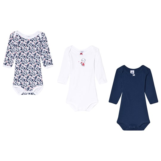 Petit Bateau Navy and White Pack of 3 Baby Bodies