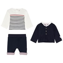 Petit Bateau Navy and White T-Shirt, Pants and Cardigan Set