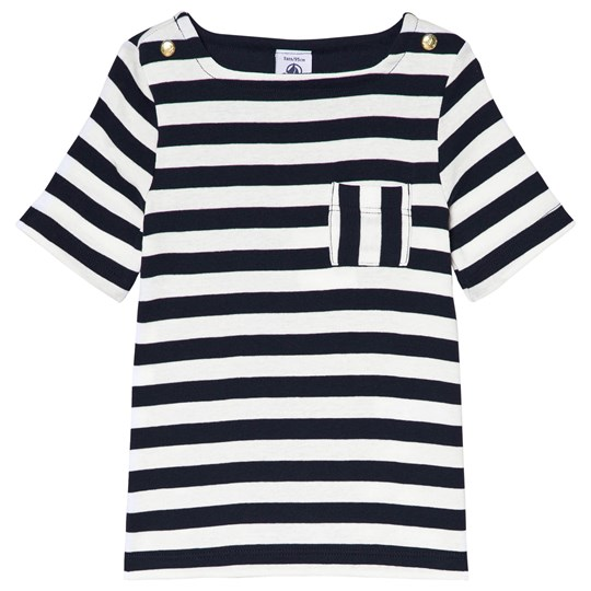 Petit Bateau Navy and White Striped T-Shirt